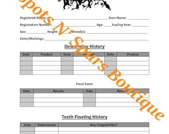Horse/Equine Wellness/Health Records
