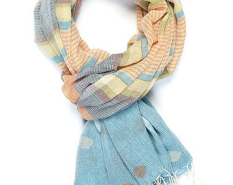 "Multicolored Handwoven ""Austin Blues"" Handloom Scarf"