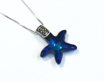 Bermuda Blue Crystal Starfish Sterling Silver Necklace