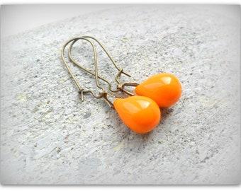 Teardrop Opaque Orange Tangerine Czech Crystal Earrings Etsy UK Bridesmaid Earrings Orange Glass Tear Drop Earrings