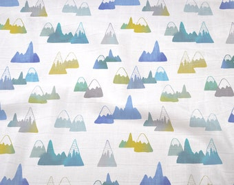 Double Gauze Fabric, Mountains in Blue - 100% cotton muslin fabric by the half yard - great for baby swaddle blankets