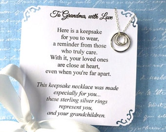 GRANDMA NECKLACE + Choice of POEM Gift for Grandmother Jewelry Sterling Silver Repres. a Grandma and Her Grandchildren Nana Gift Box Wrapped