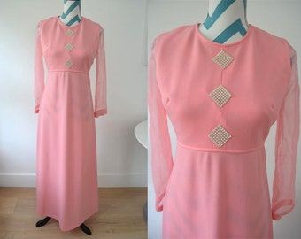 Vintage 1970s Maxi Dress with Long Sleeves Sheer Chiffon - Salmon Pink - Empire Waist - Crystal Applique - Small