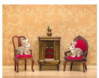 35% OFF SALE Rabbits (or bunnies) cozy woodland warm tone art print- Rabbit Ears