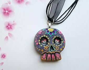 Amor Love Day of the Dead Sugar Skull Necklace Pendant 2