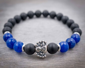 Mens black bracelet Black onyx bracelet Blue jade bracelet Matte black & Sterling silver spider bracelet Mens mala bracelet Wrist mala beads