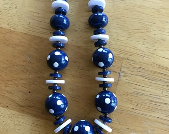 Blue and white polkadot beaded necklace
