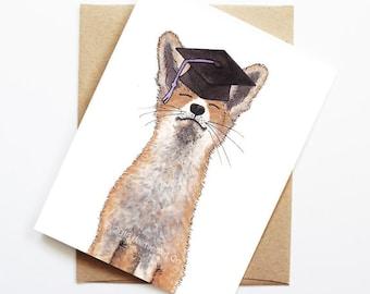 Graduation Card - Fox, Grad Card, College Graduation, High School Grad, Congrats Grad, Congrats Card, Cute Animal Card, Fox Card