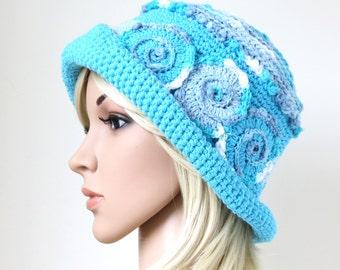 Women's Cotton Sunhat in Blue, Unique Boho Festival Fashion