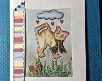Framed Art Card, Cool Cat, Just Because Card