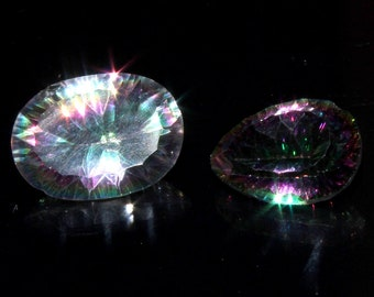 2 Pieces Pair Of AAA+ Natural Multi Color Mystic Topaz Faceted Oval&Pear Loose Gemstone,Top Quality Mystic Topaz Concave Cut Loose Gemstone