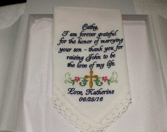 Mother of the Groom Personalized Keepsake Wedding Handkerchief, wedding handerchief, embroidered handkerchief