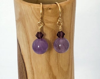 Amethyst Earrings, 14k Gold Fill Hook Drop Earrings with Amethyst Gemstones and Swarovski Crystals