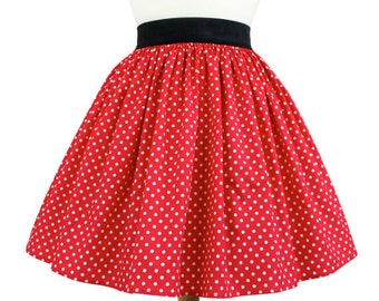 Dapper Day Minnie Mouse Red  Red and White Polkadots Pleated Skirt
