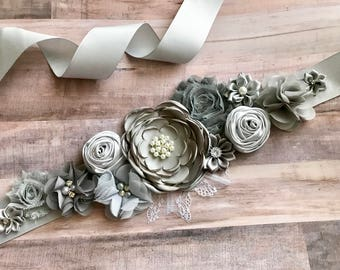 Gray Bridal Photography Maternity Sash Boy Sash Photo Prop Baby Shower Gender Reveal Party Gift