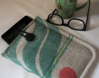 Kindle Case Upcycled Coffee Bean Bag /Protective Sleeve /Kindle Fire /Nook /Kindle 3 /Eco Friendly