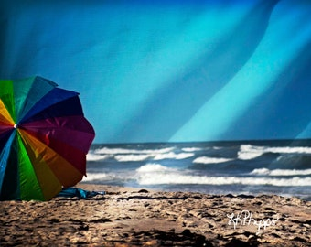 Dreaming of the  Beach Umbrella Shore Waves - Fine Art Photograph Print Picture
