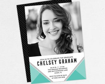Graduation Invitation, Photo Graduation Invitation, Graduation Announcement, Printable, PDF, DIY, Printed, Modern, Geometric, Blue, Chelsey