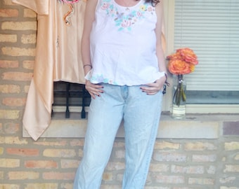 vintage embroidered floral white top