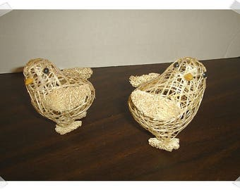 Beige Sisal Easter Chick Decorations/ Glittered/ Set of 2/Holiday Decor/ Craft Supplies*