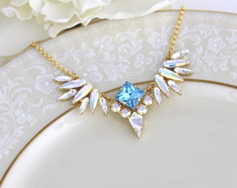 Crystal Bridal necklace, Wedding jewelry, Bridesmaid necklace, Swarovski crystal necklace, Gold necklace, Aqua Blue crystal necklace