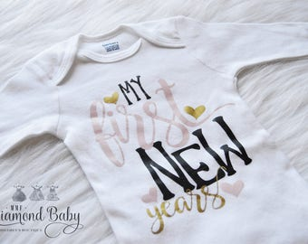 SALE ITEM-First New Years Onesie- New Years Onesie- Baby Onesie- SIZE 3-9m long sleeve
