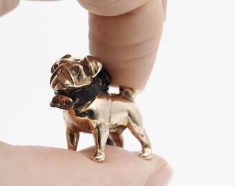 Vakkancs Pug keychain (3D solid bronze)