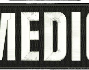 MEDIC Embroidery Patch 10x4 inches Hook backing black and white letters