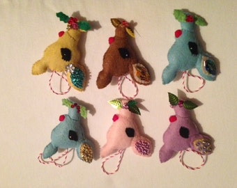 Vintage Inspired Reindeer Ornament-Set of 4. Christmas ornament. Deer ornament.