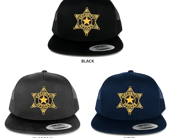 FLEXFIT 5 Panel Security Officer Black Gold Star Embroidered Patch Snapback Mesh Trucker Cap (6006-PL336)