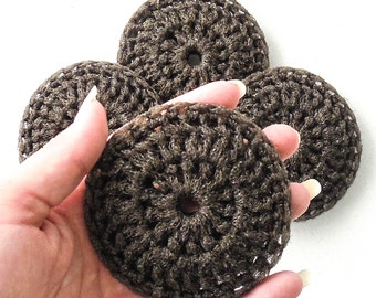 Crochet Nylon Pot Scrubbies - Set of 2 through 8 - Chocolate Brown Dish Scrubber