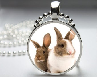 Easter Bunny Rabbit Cute Round Pendant Necklace with Silver Ball or Snake Chain Necklace or Key Ring