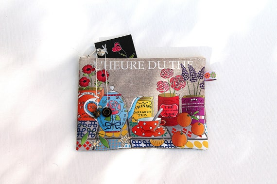 """Multifunctional natural linen pouch illustrated """"Tea time"""""""