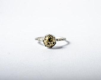 Little Brass Nugget Button Ring