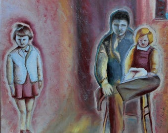 "Original oil painting by Nalan Laluk, ""Happy Family"""