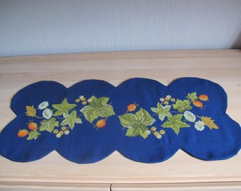 Blue embroidery doily leaves and berries
