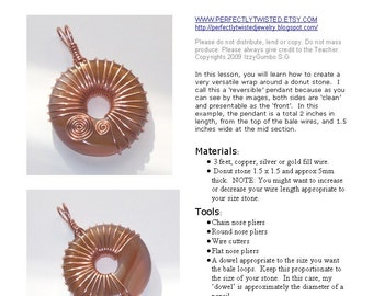 TUTORIAL Jewelry, Copper Wire Reversible Donut Pendant Pattern, Handmade Jewelry, Beginner