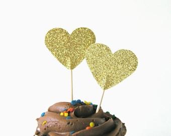 SALE - Set of 12 Shimmering Gold Glitter Heart Cupcake Cake Toppers Food Picks