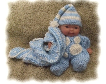 Crochet Pattern for Sleepy Time Pajamas for 5 inch Berenguer
