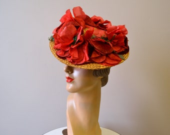 1940s Red Poppy Straw Tilt Hat