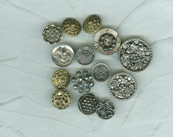 15 Vintage Metal Buttons Silver Pewter Gold Marcasite Collector Jewelry