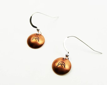 Mountain Earrings - Simple Copper and Sterling Silver Jewelry - Outdoorsy Colorado Gift
