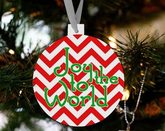 Christmas ornament  joy to the world chevron holiday ornament  JTWO