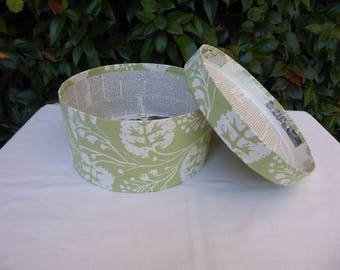 Green and white band box, wallpaper box, 19th century repro