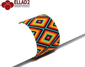Tutorial Vibrant Bracelet-Beading pattern,odd peyote stitch, Ellad2