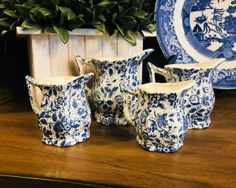 Set of Blue And White Pitcher Measuring Cups - Blue Flowers - Mini Creamers - Housewarming - Four Piece Set