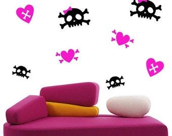 Cute Girly Skull Wall Decal 48 Piece Set
