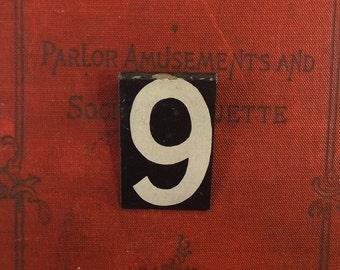 vintage. metal sign. sign. industrial. rustic. home decor. for him. for her. numbers. number sign. number. metal number. number 9