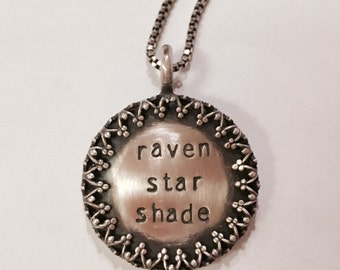 """7/8"""" Distressed Personalized Hand Stamped Sterling Pendant with Vintage-Like Filigree Sterling Silver Rim - Stamping on BOTH Sides"""