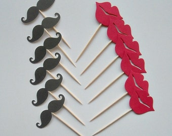 MUSTACHES & LIPS Cupcake Toppers on picks- Fun photo props kids mustaches lips Mustache party favors fun picks Choice of TWO sizes